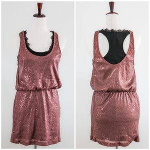 ✨LUSH SIZE LARGE SEQUIN DRESS IN ROSE GOLD✨